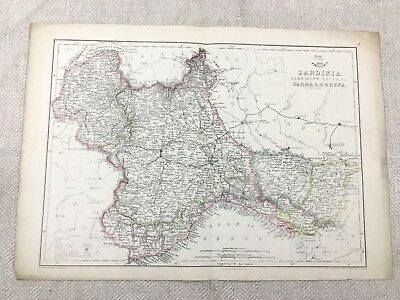Antique Map of Sardinia Parma Modena Italy Hand Coloured 19th Century Original