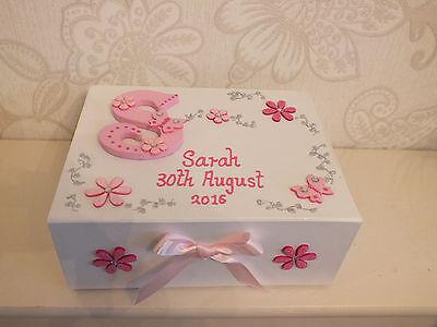 Beaytiful Personalised Girls Medium Memory Box Keepsake Christening Baby Birth