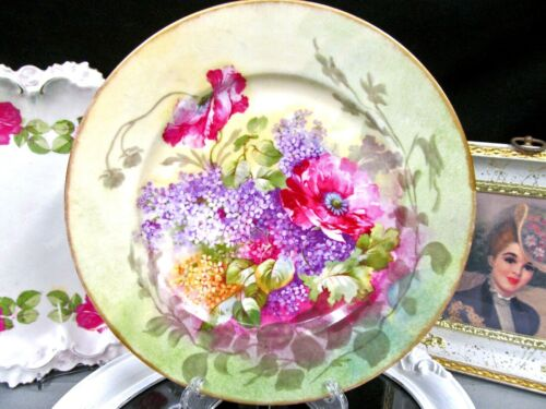 LIMOGES  France hand painted roses floral and purple lilac plate older 1930s