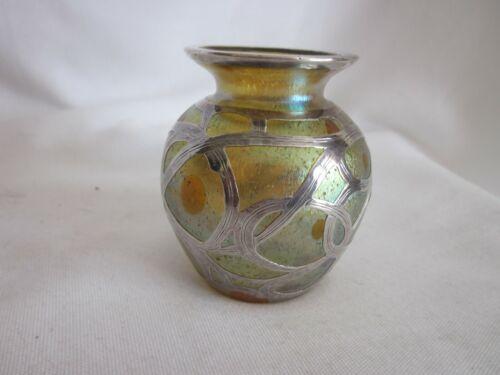 "Antique Loetz   Astraea /Candia Silver Overlay Vase  3"""