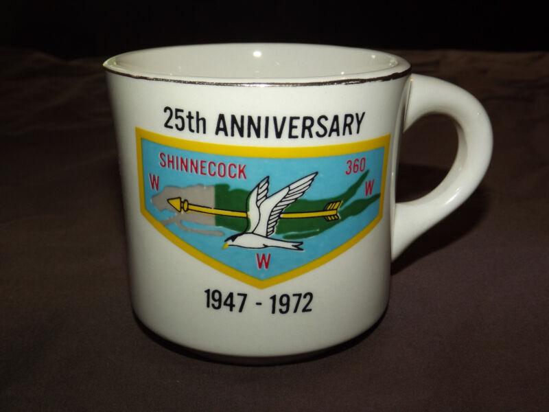 VINTAGE BSA BOY SCOUTS COFFEE MUG 1947-1972 SHINNECOCK 25TH ANNIVERSARY