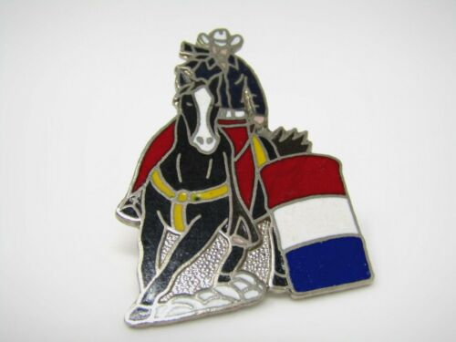 Vintage Collectible Pin: Texas Cowboy Riding Horse Red White Blue Barrel