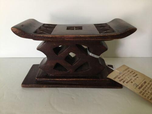 Ashanti Headrest Stool Carved Wood Tribal Art Ghana Africa