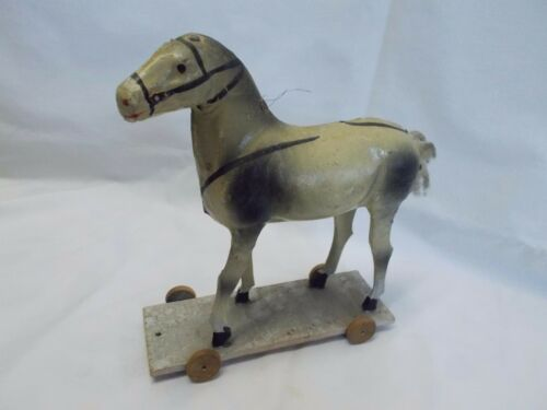 "German ~ 10.25"" Paper Mache Pull Toy HORSE ~ (Just Waiting for your SANTA)"