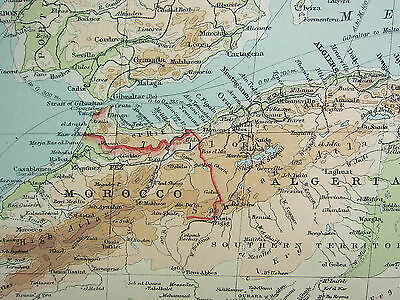 1921 LARGE MAP ~ NORTHERN AFRICA ~ MOROCCO ALGERIA TUNIS LIBYA IVORY COAST