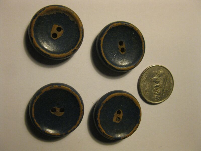 """Lot of 4 Vintage Wood Buttons Painted Blue Crackle Patina 1"""" 2 hole Chippy Worn"""