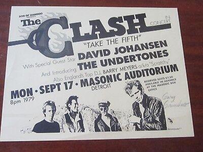THE CLASH 1979 SIGNED DETROIT HANDBILL GARY GRIMSHAW DAVID JOHANSEN NEAR MINT