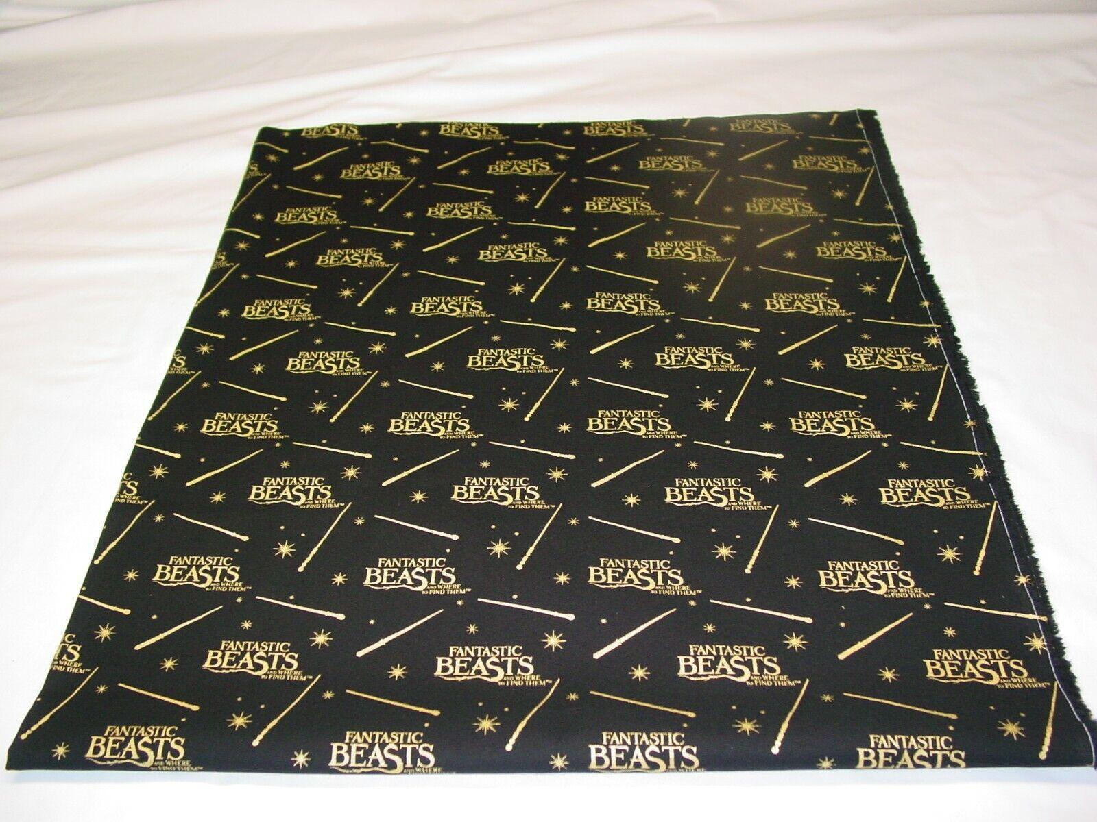 FANTASTIC BEAST BLACK 100 COTTON FABRIC REMNANT LENGTH 35 X WIDTH 43  - $10.50