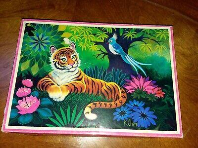 VTG 1970s Bilt-Rite FOREST FANTASY TIGER Picture 100 pc Puzzle Complete! K Chin