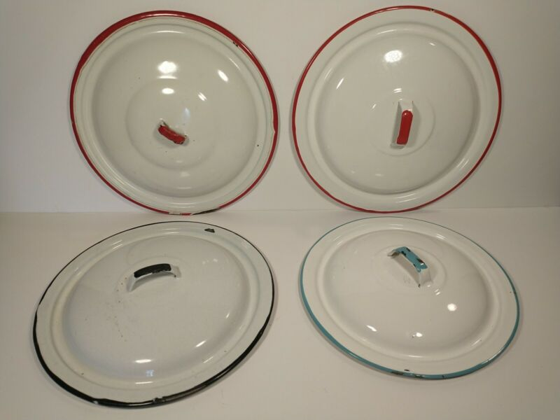 Vintage Lot of 4 Enamel Metal Pot replacement Lids Red Black Teal