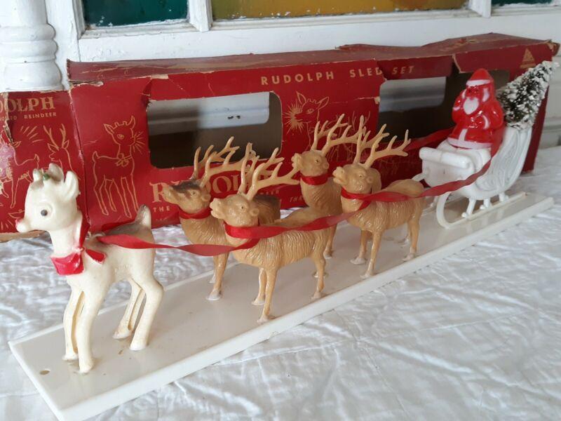 Vintage Celluloid RUDOLPH SLED SET Santa~Brush Tree~Sleigh Christmas Decor W/Box