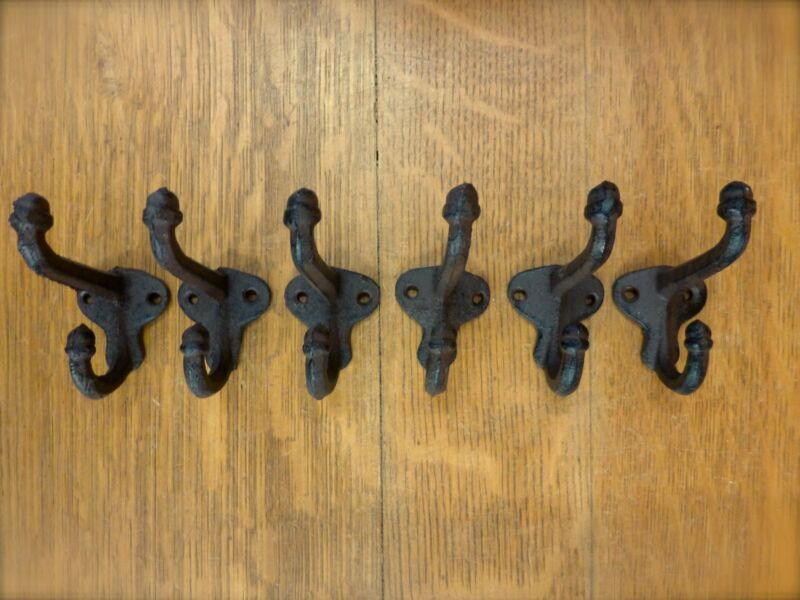 """6 BROWN ANTIQUE-STYLE DOUBLE SCHOOL COAT HOOKS RUSTIC CAST IRON 3/"""" wall hardware"""