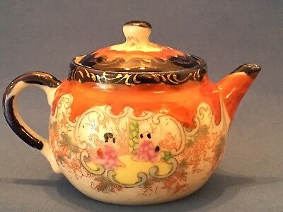 Antique Japanese Hand Painted Geisha Girl Teapot c1920 - height 7.5cm