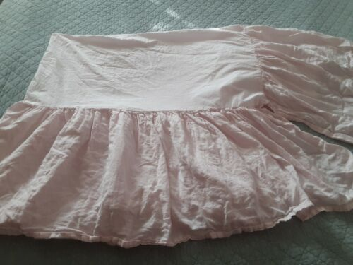 RH Restoration Hardware Baby & Child Petal Pink LINEN Crib Bed Skirt Baby Girl