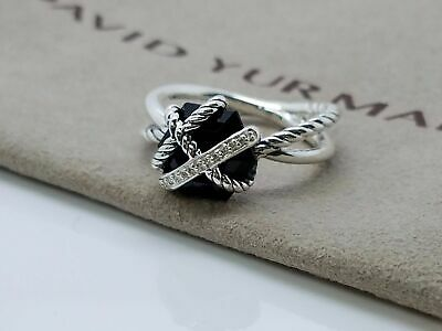 David Yurman Sterling Silver Cable Wrap Black Onyx and Diamond Ring Size 6