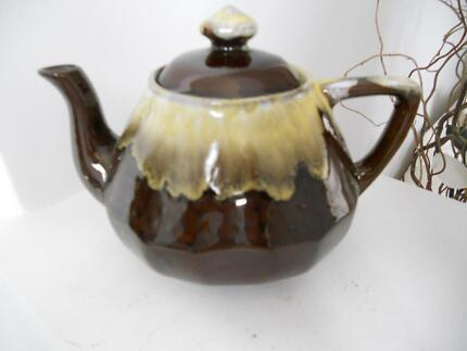 Vintage brown yellow white drip glaze teapot tea pot Japanese Carindale Brisbane South East Preview