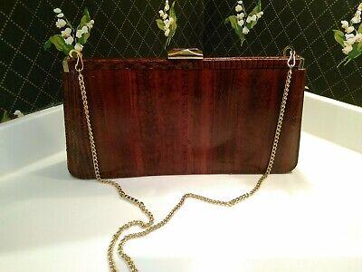 1940s Handbags and Purses History Vintage BROWN GENUINE SNAKESKIN LEATHER HANDBAG SNAP CLUTCH PURSE 1940s 50's  $69.00 AT vintagedancer.com