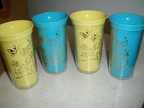 """Vintage Plastic Set of 4 Yellow & Blue Drinking Cups 5.25"""" tall Floral Butterfly"""