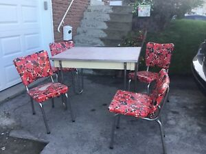 Vintage table with four chairs