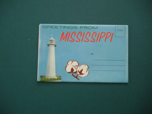 Vintage Greetings From Mississippi Souvenir Postcard Folder