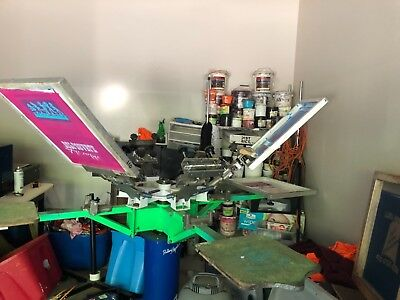 6x4 Screen Printing Press Plus Ink Screens Etc Complete Shop