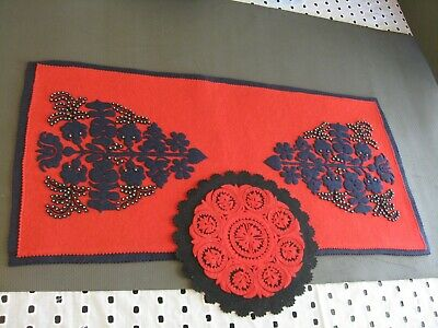 Hungarian felt embossed table runner and doily applique red and black