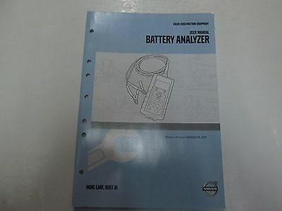 2008 Volvo Construction Equipment Battery Analyzer User Manual Factory Oem Book