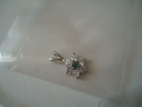 Vintage AVON Sterling Slv Emerald Flower Pendant, Chain, Matching Earrings, NEW