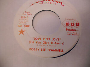Bobby-Lee-Trammell-Love-Isnt-Tell-Me-That-BLUE-vinyl-45-RPM-Soun-Cot-Records-EX