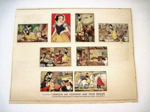 1938 SNOW WHITE AND THE SEVEN DWARFS 8 Poster Stamps Armour & Company *