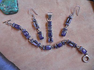 Amethyst & Sterling Silver .925 Earrings, Pendant & Bracelet SET Taxco Mexico