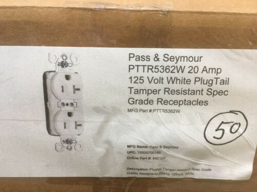(50) P&S PTTR5362W 20A 125V White Plugtail Spec Grade Tamper Duplex Receptacle