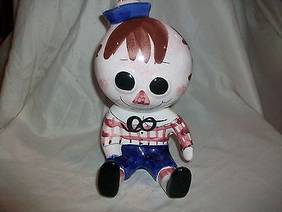 Vintage Ceramic Raggedy Andy Doll Coin Bank Handpainted Pottery  Italy