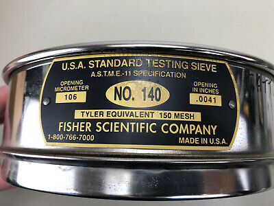 Fisher Scientific Standard Testing Sieve No140 .0041 Tyler Equivalent 150 Mesh