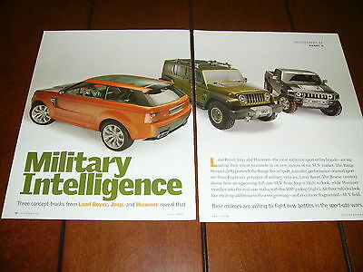 JEEP - LAND ROVER - HUMMER - CONCEPT CAR / TRUCK ***ORIGINAL 2004 ARTICLE***
