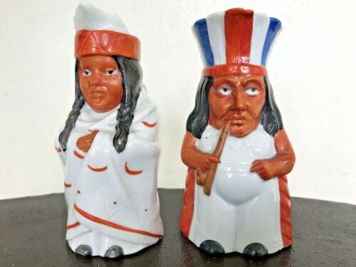 Pair Vintage Antique Figural American Indian Chief & Woman Hand Paint Pitchers