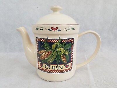 Certified International Corp Susan Winget Corn Stalk Heart Coffee Tea Pot w/ Lid