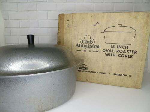 """15"""" Club Hammered Aluminum Roasting Pan with Cover Oval Roaster Dutch Oven"""