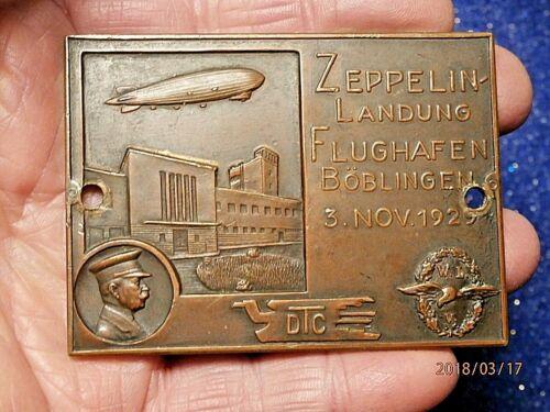 SUPERB LZ127 GRAF ZEPPELIN LANDING BOBLINGEN DTC PLAQUE RARE C948D