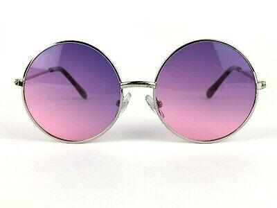 60's Style Sunglasses Big Round Violet / Rose Color Retro Hippy Lenses #K3005 (Round Rose Colored Sunglasses)