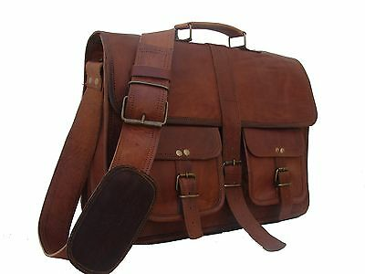 Men's Messenger Genuine Vintage Leather  Shoulder Laptop office Bag briefcase