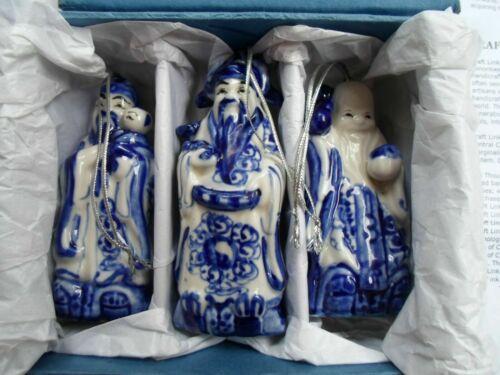 CHINESE CERAMIC SET OF 3 GOOD FORTUNE GODS HANDMADE ORNAMENTS ORIG BOX, NEW