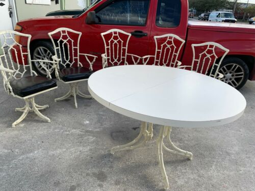VINTAGE METAL FAUX BAMBOO CHIPPENDALE HOLLYWOOD REGENCY 6 PIECE DINING SET