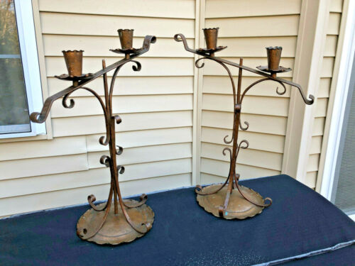 Pair Arts & Crafts Mission Style Copper Candlesticks Signed Dewson