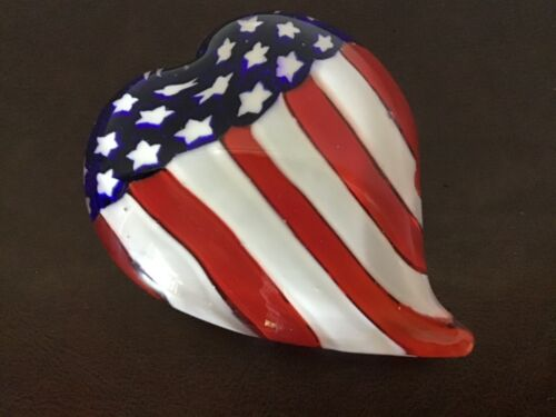 Murano Art Glass Red, White & Blue Patriotic HEART Flag Paperweight