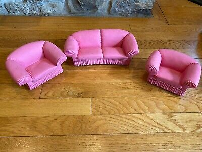 1988 Pink Vinyl Doll Barbie Doll Furniture MTC Sofa Chair Set Vintage