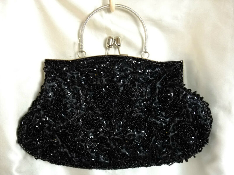 BLACK FLORAL FULLY HAND-SEWN BEADED SATIN EVENING PURSE/HANDBAG/CLUTCH