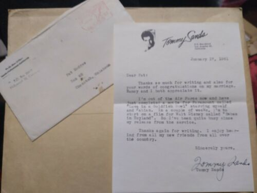 Vintage Tommy Sands Signed Letter from 1961