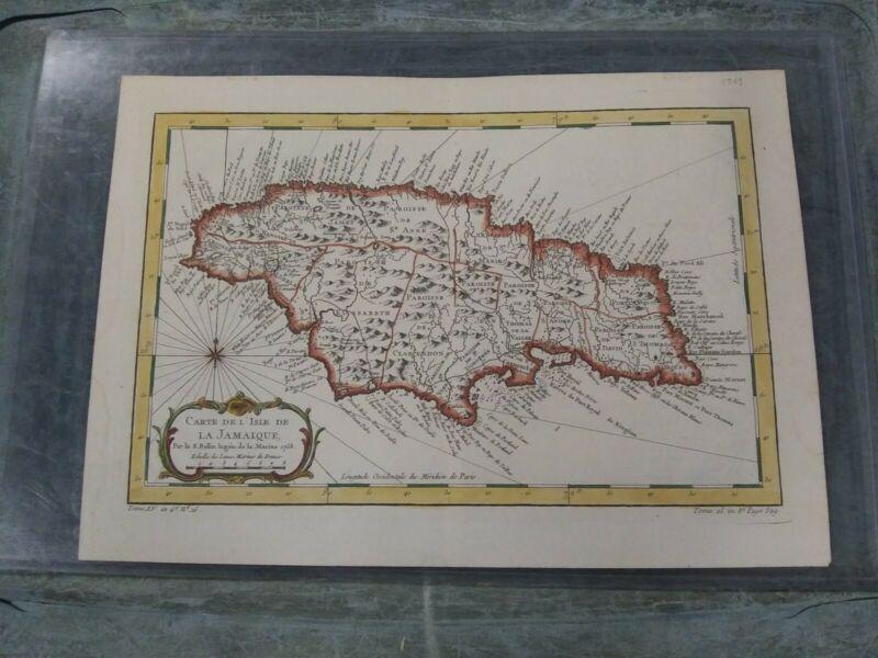 Antique 1758 Map Carte De L Isle Jamaique Echelle de Lieues Marines de France