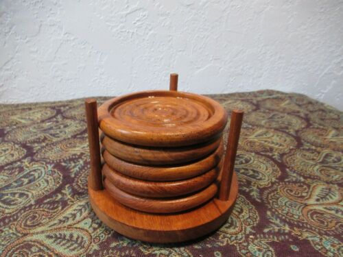 "Vintage Teak Wood Coasters, Winsome Wood, 4"" Coasters (Set of 5) with Holder"